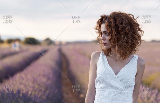Pretty woman in a lavender field
