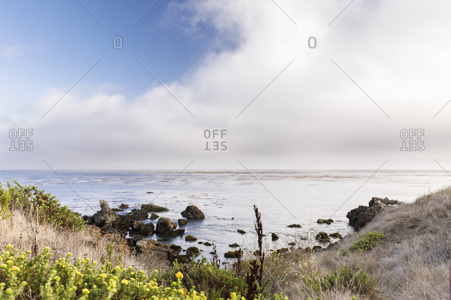 Pacific ocean on the california coast with clouds