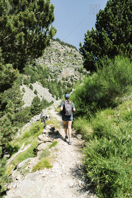 Back view of adventure female hiker in casual clothes walking along a mountain path in a sunny day