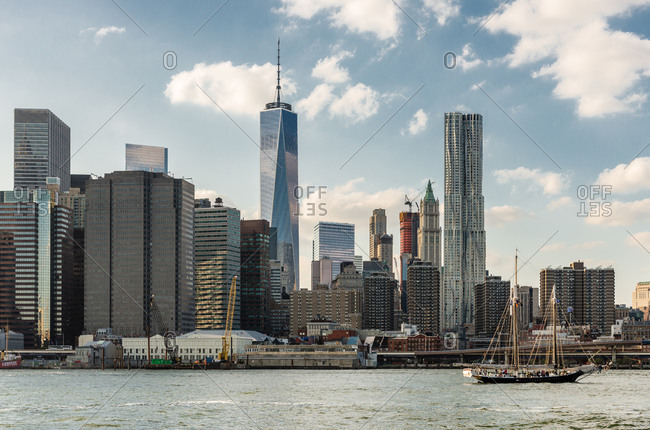New york, ny, united states - october 17, 2014: view from the hudson river of modern manhattan buildings, nyc, usa