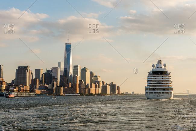 New york, ny, united states - october 17, 2014: big cruise ship departing from nyc harbor at hudson river terminal