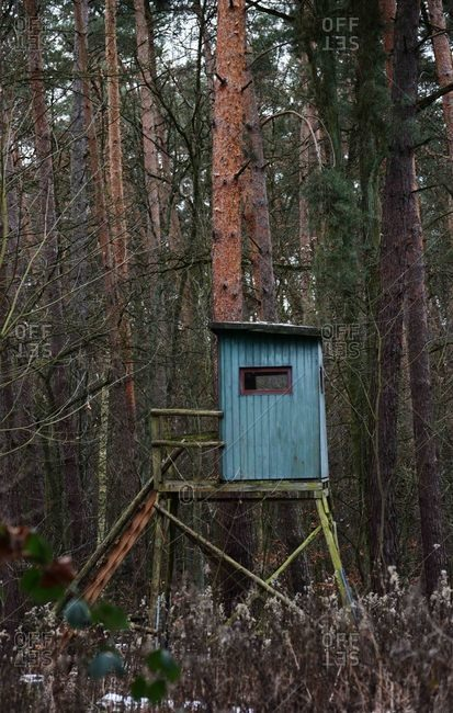 Deer hunting blind on a tree stand in the forest