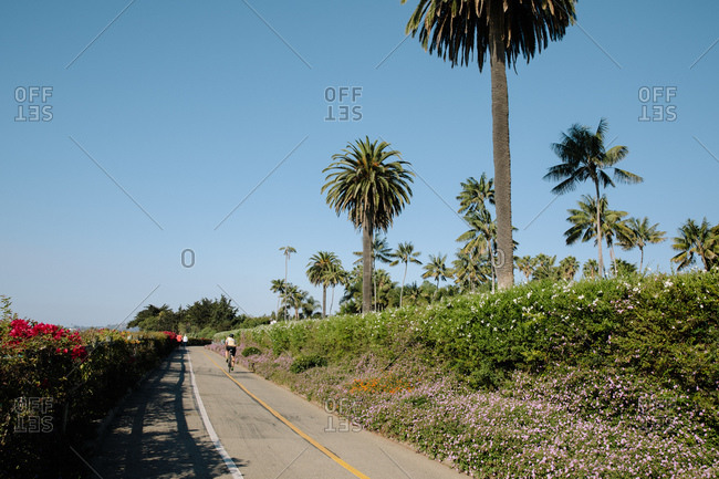 Bike path near Butterfly Beach on the coast of Montecito, California
