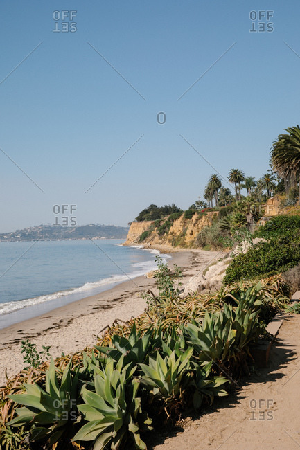 Sunshine and blue sky at Butterfly Beach in Montecito, California