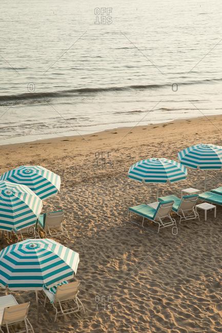 View over Miramar beach and blue umbrellas in Santa Barbara, California