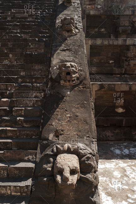 Sculptures on staircase at the Teotihuacan ruins in San Juan Teotihuacan, Mexico