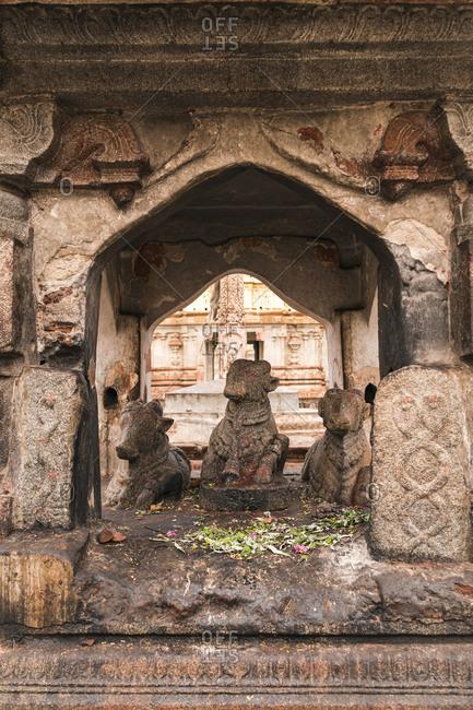 Altar for offerings in ancient Virupaksha Temple complex in the Hampi region, Karnataka, India