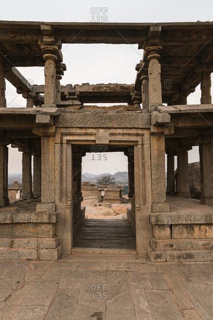 Architecture of ruins in ancient Virupaksha Temple complex in the Hampi region, Karnataka, India