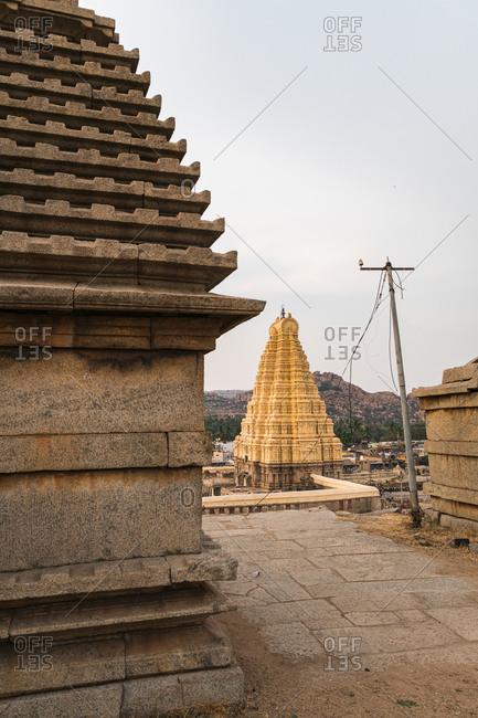 Architecture of the ancient Virupaksha Temple complex in the Hampi region, Karnataka, India