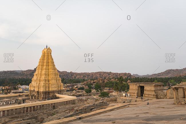 Architecture of the ancient Virupaksha Temple complex in Hampi, Karnataka, India