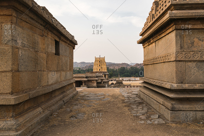 Impressive tower in ancient Virupaksha Temple Complex in the Hampi region, Karnataka, India