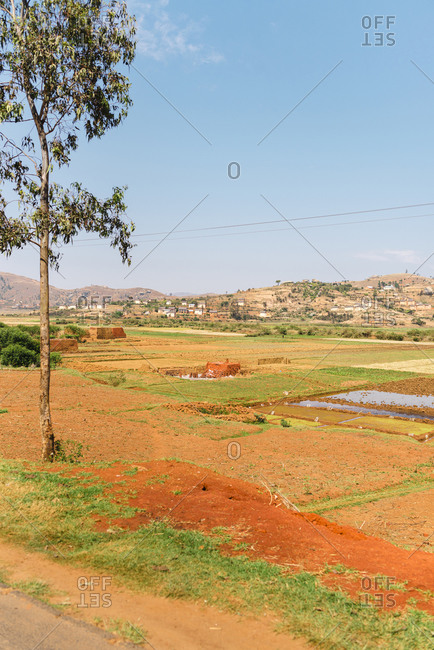 Landscape of rice fields close to rural town in Antananarivo, Madagascar