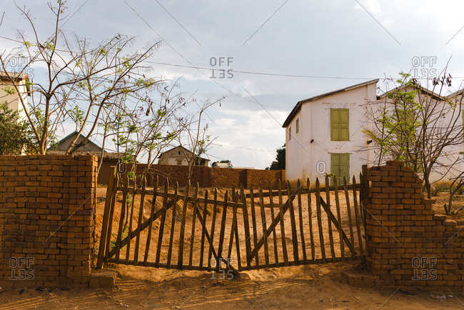 Old rural house with wooden fence in Fianarantsoa, Madagascar