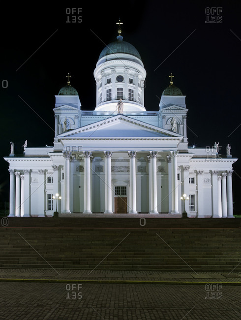The Lutheran Cathedral at Night in Helsinki, Finland