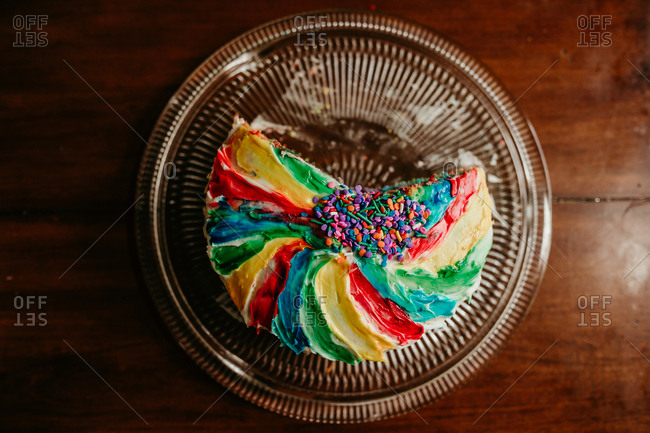 View of a rainbow cake from above