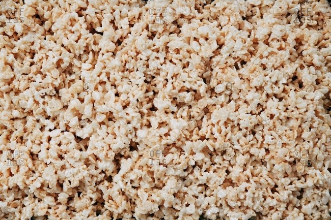 Marshmallow rice cereal treats close up