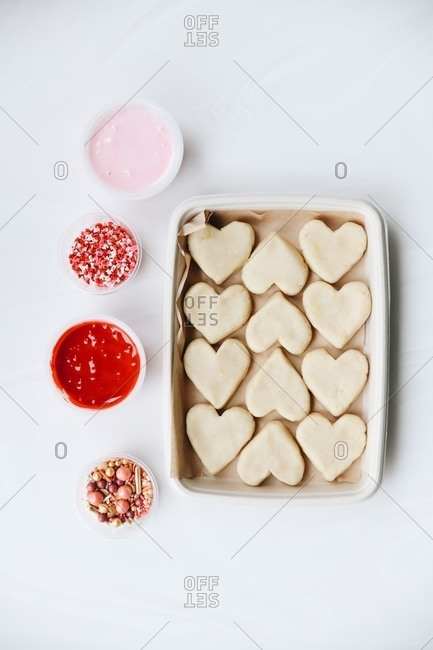 Heart sugar cookies before being decorated