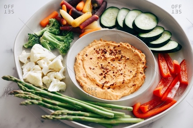 Hummus dip with a variety of vegetables