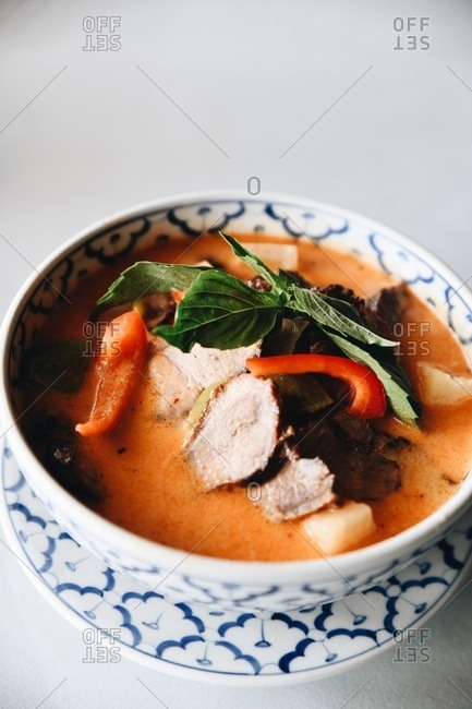 Close up of a bowl of delicious Asian soup