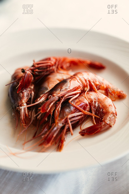 Close up of whole cooked shrimp on plate