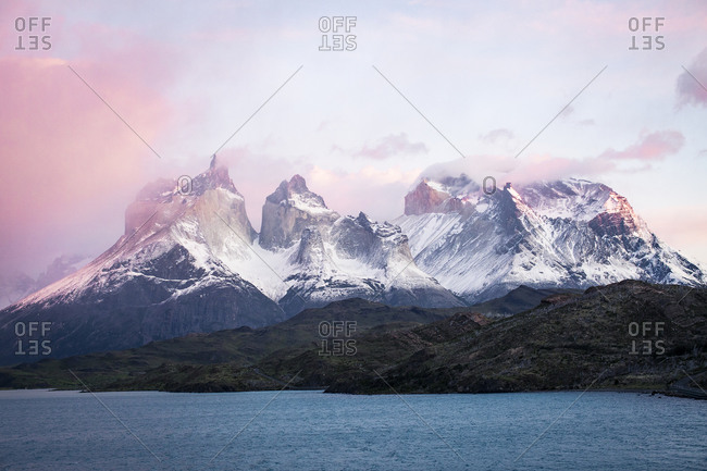 Sunrise on the mountains in Torres del paine, Patagonia, chile