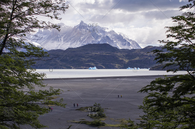 View of icebergs and cerro paine grande in Patagonia