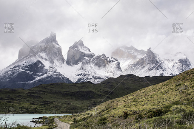 View of the majestic Torres del paine from lake pehoe