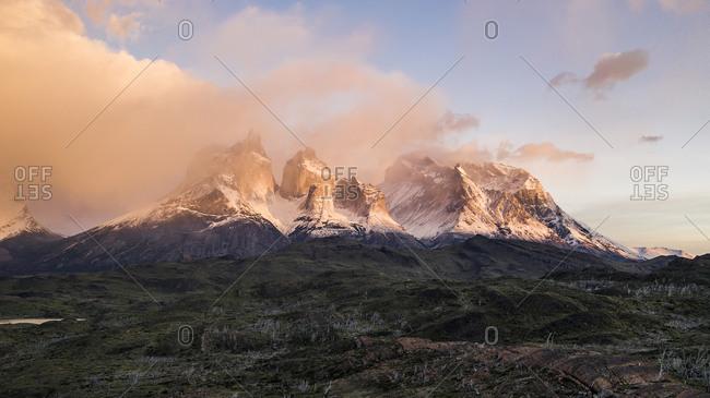 Sunrise over the peaks of Torres del paine, Patagonia