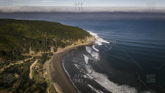 Aerial view of the point break at puertecillo, chile