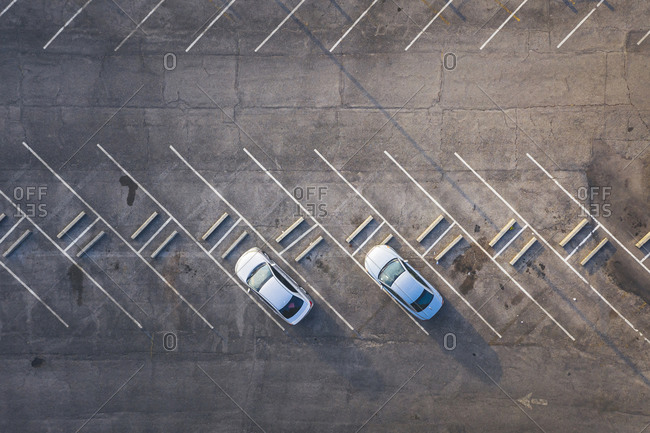 Parking with two cars from above in new orleans