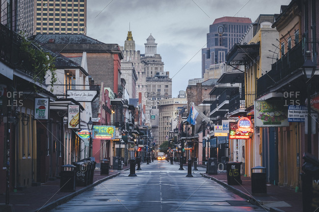 New orleans, la, united states - august 24, 2020: the famous bourbon street in new orleans without people in the morning