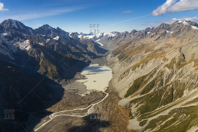 Scenic view of hooker valley against sky, aoraki mount cook national p