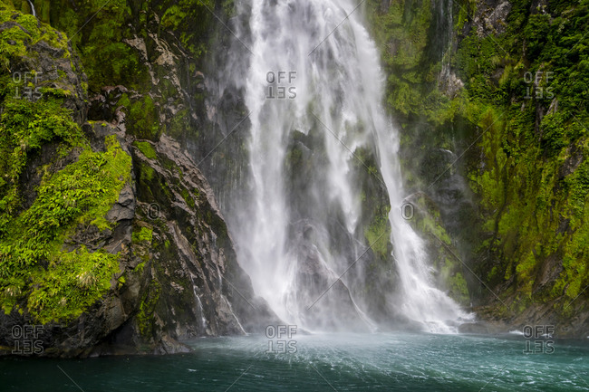 Stirling falls in milford sound in fiordland national park, southland, south island, new zealand