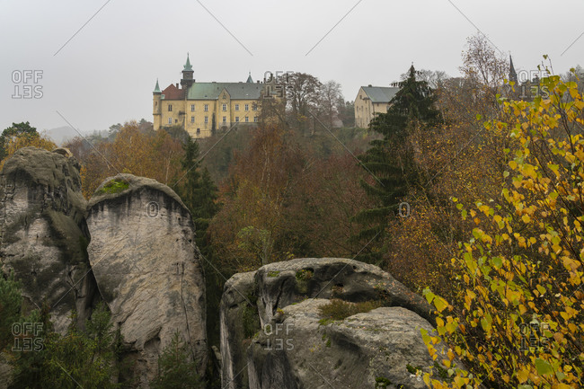 Hruba skala castle against cloudy sky, hruba skala, bohemian paradise, Czech republic