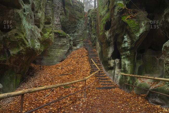 Adamovo loze rock formation in autumn, hruba skala, bohemian paradise, semily district, liberec region, bohemia, Czech republic