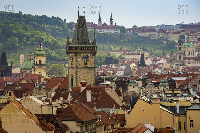 Exterior of old town hall and astronomical clock tower, old town, unesco, prague, Czech republic