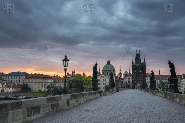Charles bridge before sunrise, prague, bohemia, Czech republic