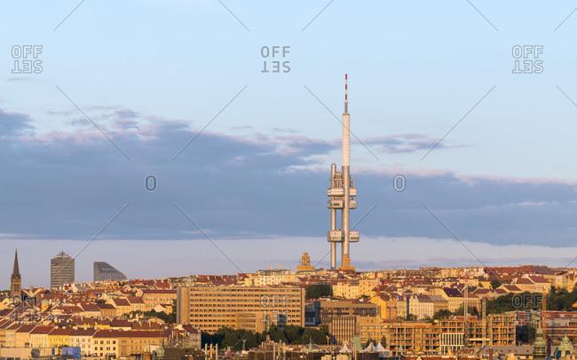 Czechia, prague, prague - july 1, 2018: zizkov tv tower against sky during sunset, prague, Czech republic