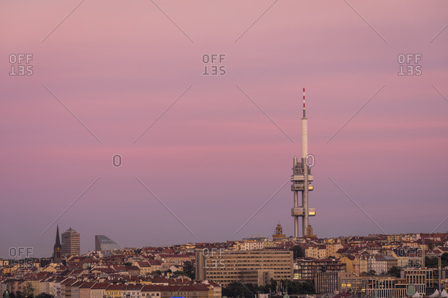 Czechia, prague, prague - september 26, 2018: zizkov tv tower against sky during sunset, prague, Czech republic