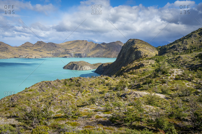 Scenic view of lake nordenskjold, Torres del paine national park, Patagonia, chile