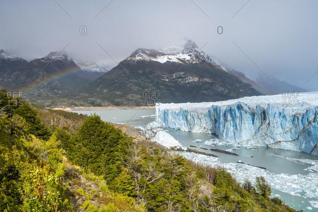 Idyllic view of rainbow over perito moreno glacier, Patagonia, argentina