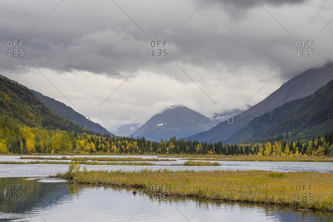 Scenic view of tern lake against cloudy sky, kenai, alaska, usa