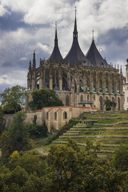 Saint barbara's cathedral on cloudy day, unesco, kutna hora, kutna hora district, central bohemian region, Czech republic