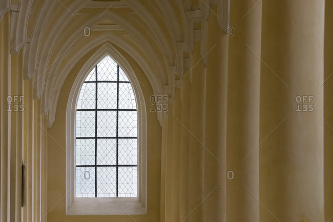 Detail of window inside church of the assumption of our lady and saint john the baptist, kutna hora, Czech republic