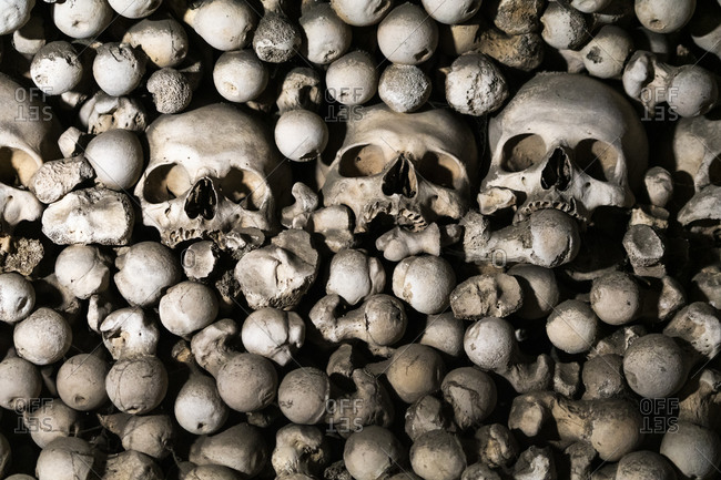 Skulls on display at sedlec ossuary (aka bone church), unesco, kutna hora, kutna hora district, central bohemian region, Czech republic