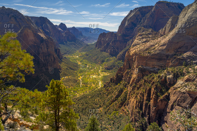 Scenic view of Zion canyon seen from angels landing, Zion national park, Utah, usa