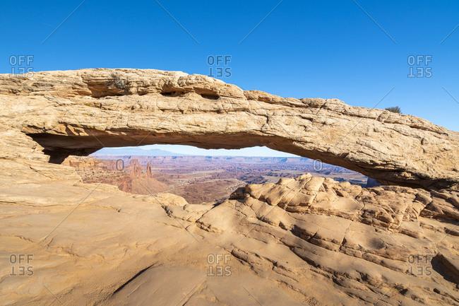 Mesa arch against clear blue sky, canyonlands national park, Utah, usa