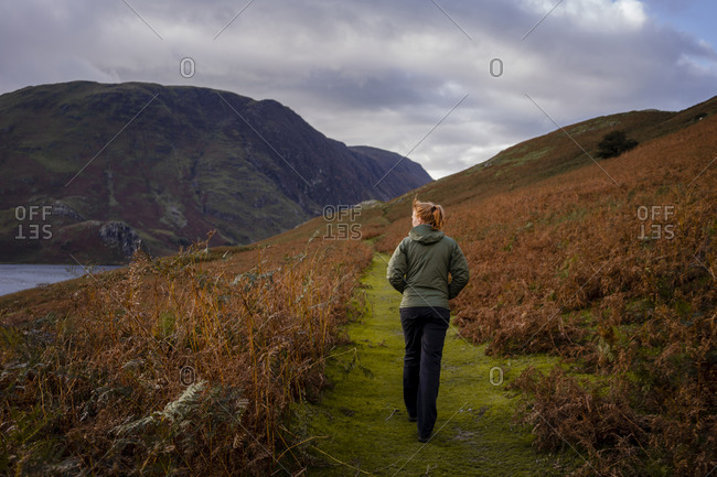 Woman walking on path surrounding by ferns in autumn, in the lak
