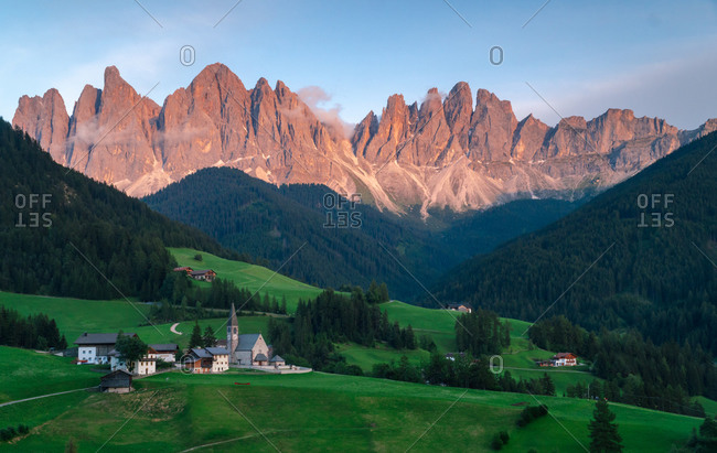 Sunset in the beautiful valleys of dolomiti