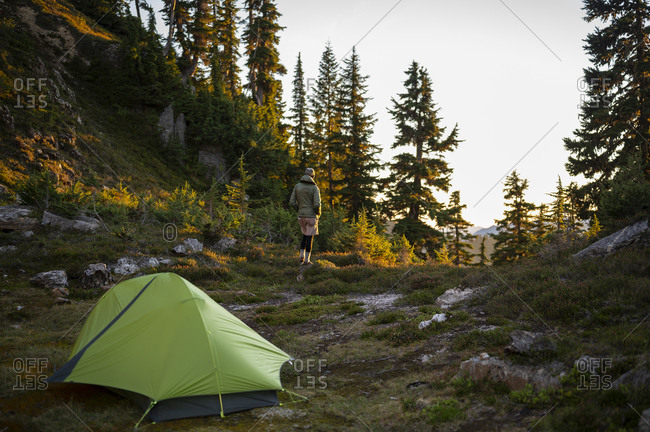 Male hiker with green tent in the backcountry